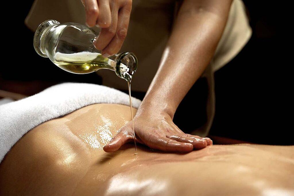 oljemassage, massage, behandling, Djup ayurvedisk massage
